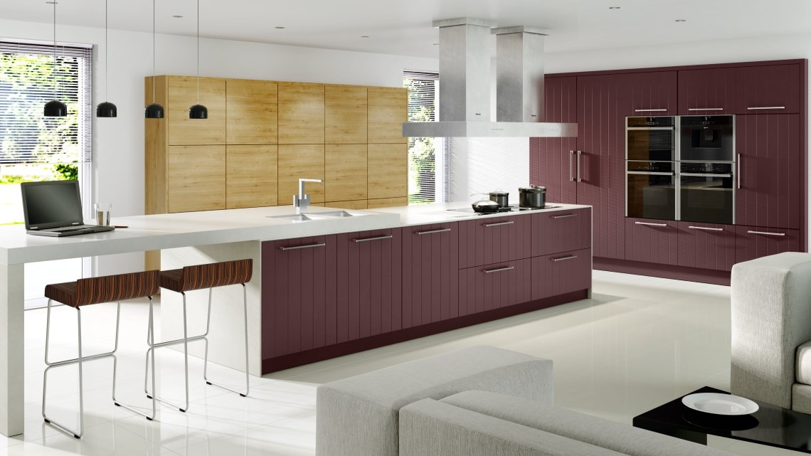 Vertical Lined Smooth Painted Wild Orchid & Arlington Oak